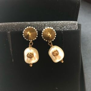 Auth. Used Gucci Interlocking G Pearl Earrings